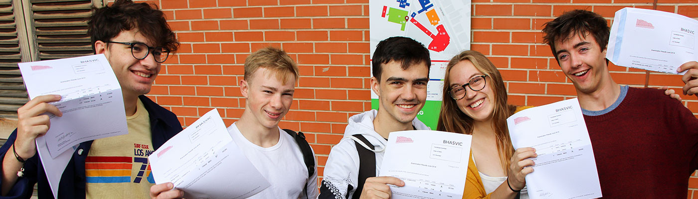Students celebrating getting their exam results