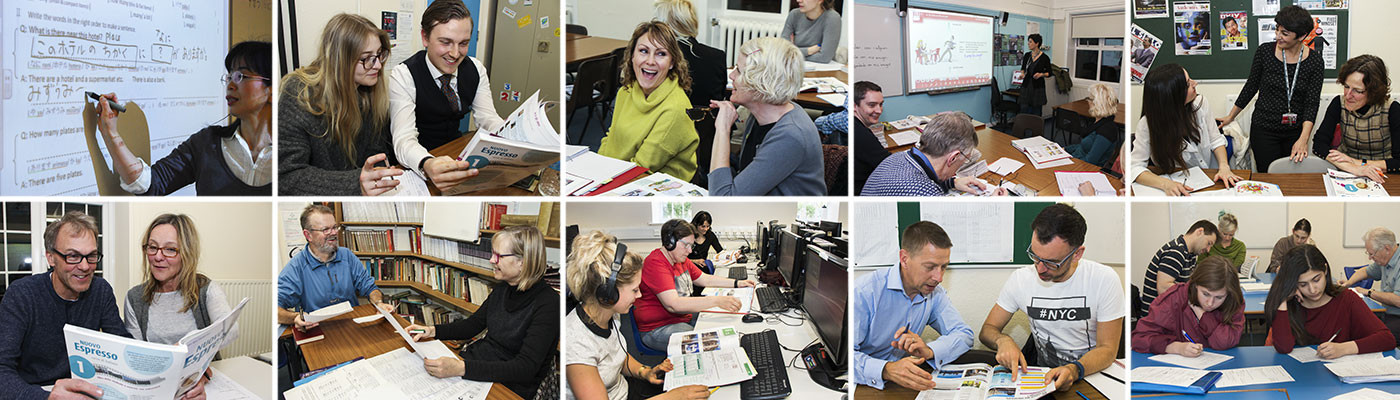 A collage of photos of people attending adult evening language classes